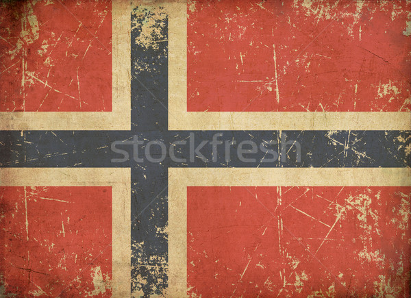 Norwegian Aged Flat Flag Stock photo © nazlisart