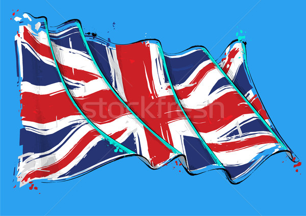 British Artistic Brush Stroke Waving Flag Stock photo © nazlisart