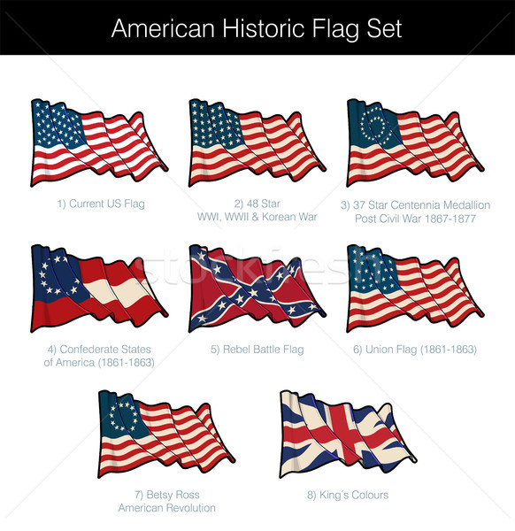 American Historic Waving Flag Set Stock photo © nazlisart