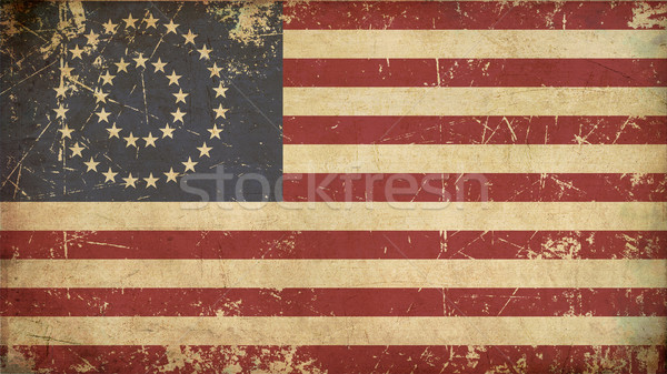 US Civil War Union -37 Star Medalion- Flag Flat - Aged Stock photo © nazlisart