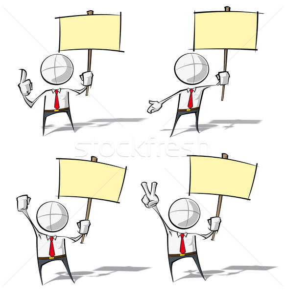 Simple Business People - Holding a Placard Stock photo © nazlisart
