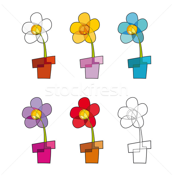 Flowerpot Icons Stock photo © nazlisart