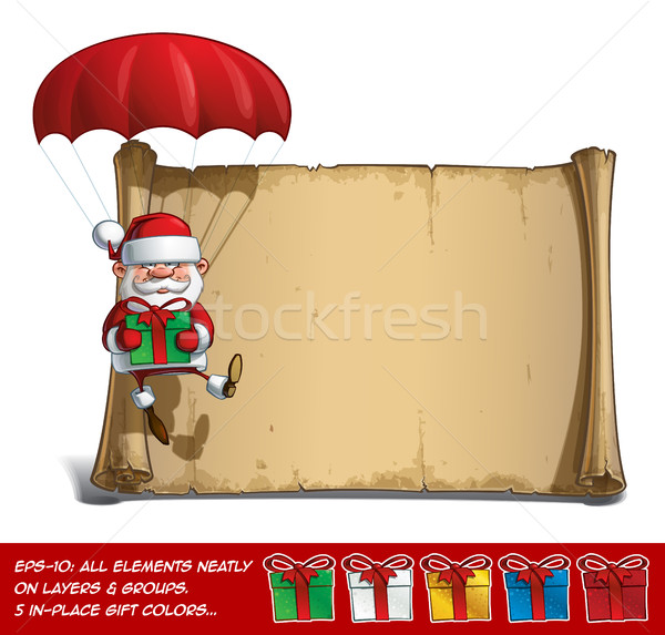 Boldog mikulás tekercs ejtőernyő tart ajándékok Stock fotó © nazlisart