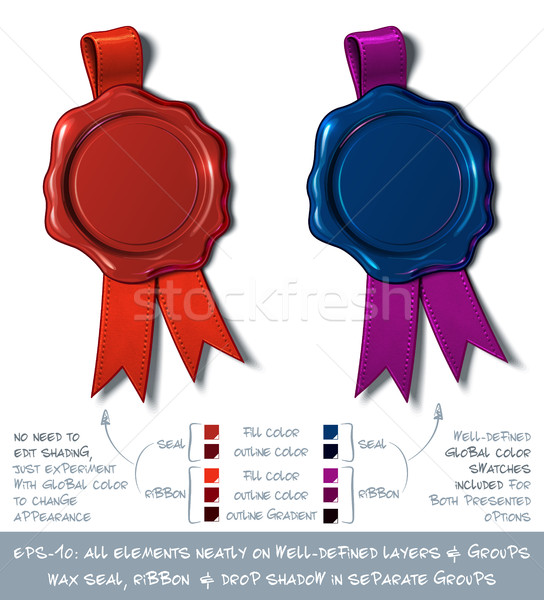 Wax Shield Blank - Red and Dark Blue Stock photo © nazlisart