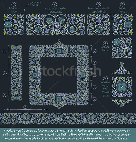 Flower Decorative Ornaments Building Kit - Blue Green Negative Stock photo © nazlisart
