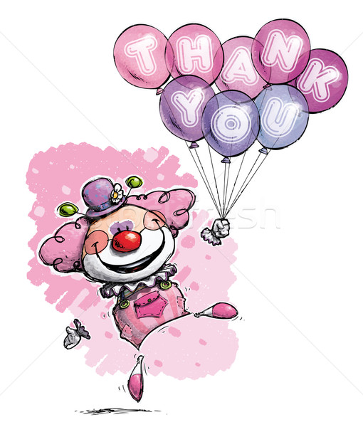 Clown with Balloons Saying Thank You - Girl Colors Stock photo © nazlisart