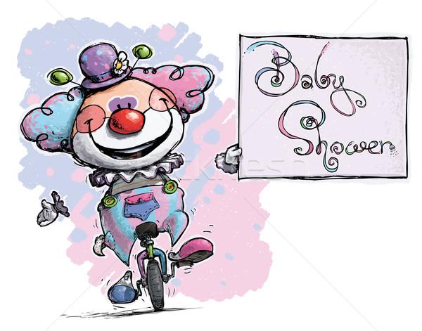ピエロ 一輪車 赤ちゃん シャワー カード ストックフォト © nazlisart