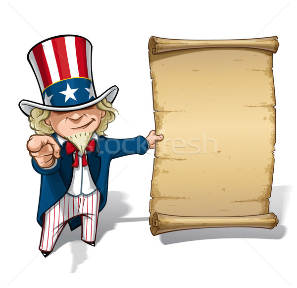 Nagybácsi nyilatkozat vektor rajz illusztráció tart Stock fotó © nazlisart