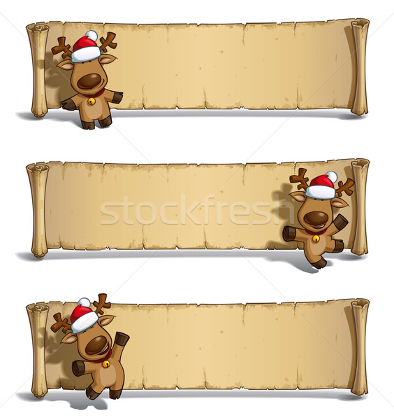 Christmas Elks Papyrus White Background Stock photo © nazlisart