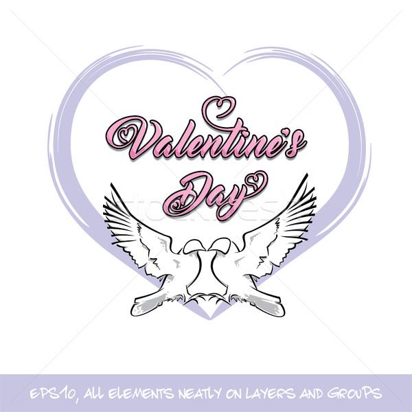 愛 鳥 バレンタイン 日 紫色 中心 ストックフォト © nazlisart