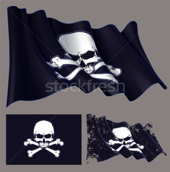 Waving Pirate Flag Jawless Skull and Bones
