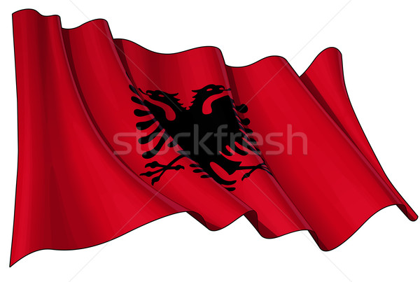 Stock photo: Albanian Flag
