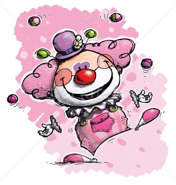 Clown Juggling - Girl Colors Stock photo © nazlisart