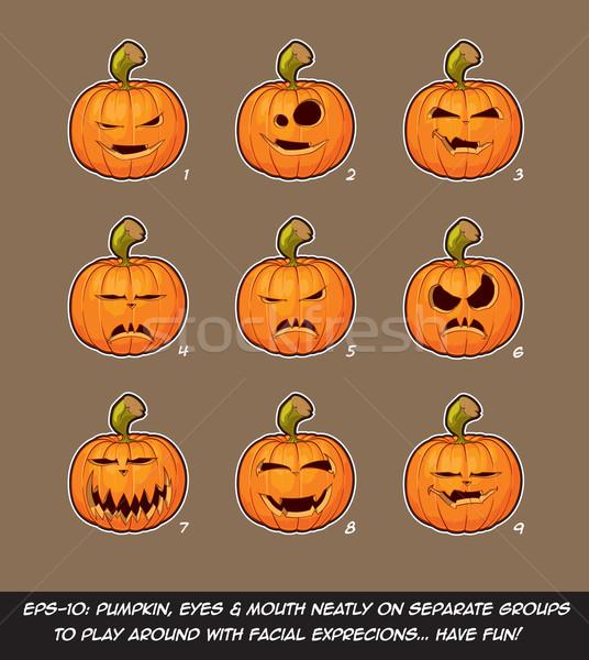 Fener karikatür vampir ifadeler ayarlamak vektör Stok fotoğraf © nazlisart