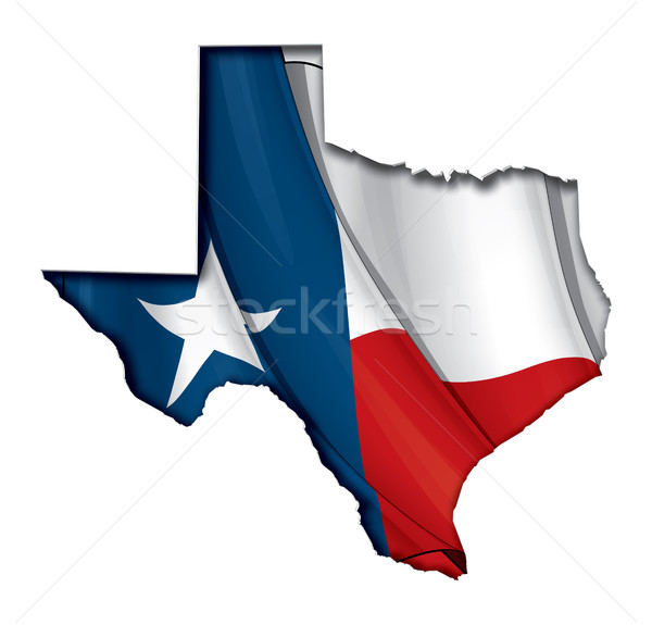Texas Cut Out Map Inner Shadow with Flag Underneath Stock photo © nazlisart
