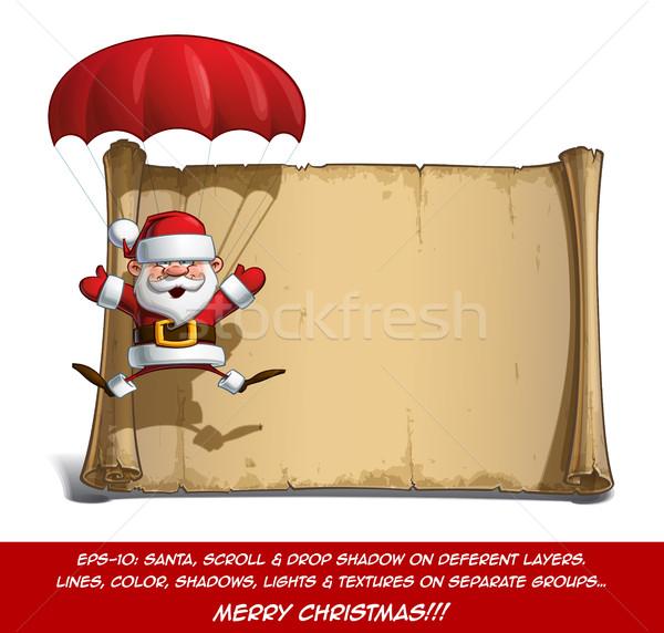 Boldog mikulás tekercs ejtőernyő nyitva kezek Stock fotó © nazlisart