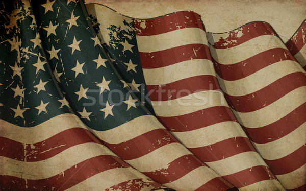 US Flag WWI-WWII (48 stars) Old Paper Stock photo © nazlisart