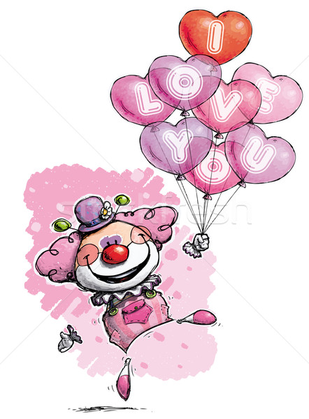 Clown with Heart Balloons Saying I Love You - Girl Colors Stock photo © nazlisart