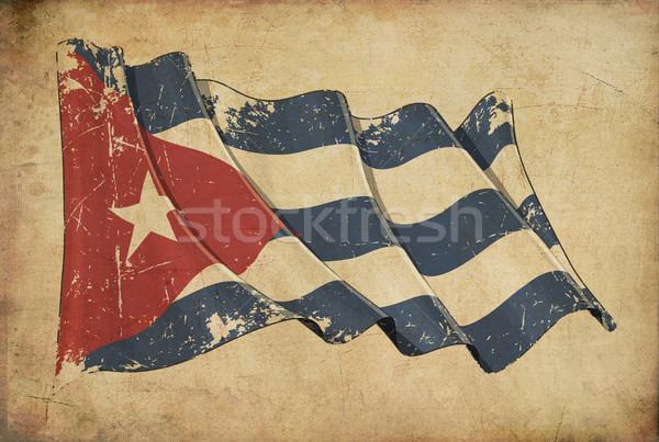 Cubano grunge bandeira papel de parede Foto stock © nazlisart