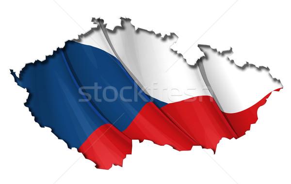 Czech Map-Flag Stock photo © nazlisart