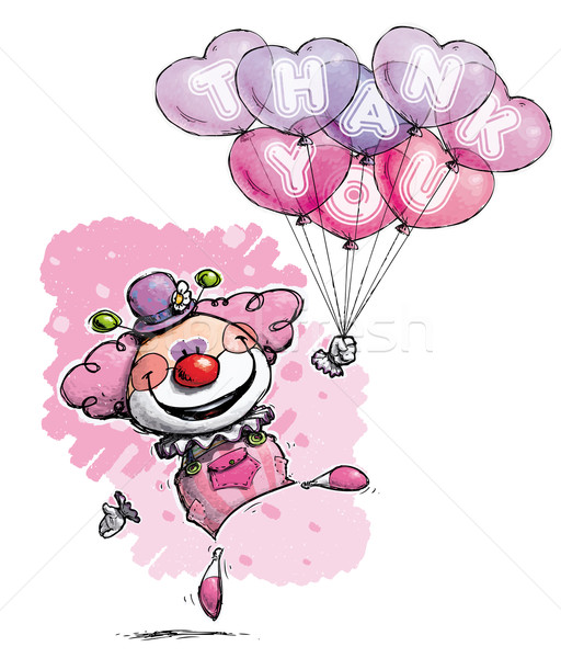 Clown with Heart Balloons Saying Thank You -  Girl Colors Stock photo © nazlisart
