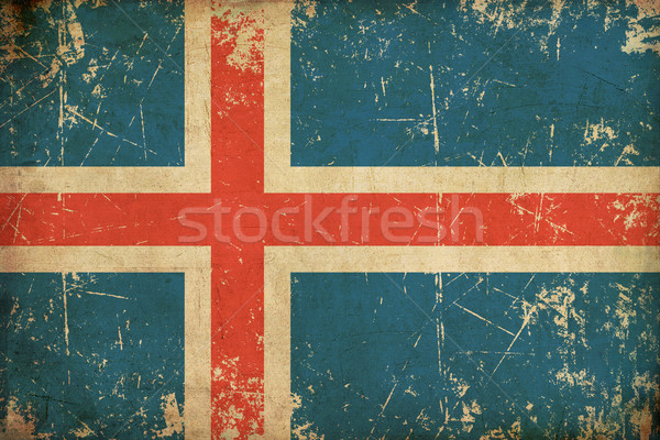 Icelandic Flag Flat Aged Stock photo © nazlisart