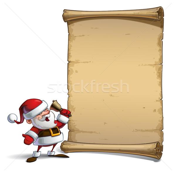 幸せ サンタクロース スクロール ベクトル 漫画 実例 ストックフォト © nazlisart