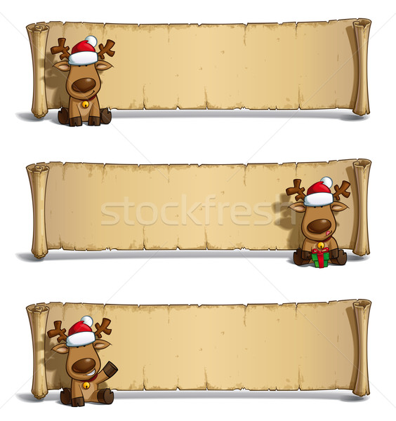 Christmas Elks Papyrus Sitting White Background Stock photo © nazlisart