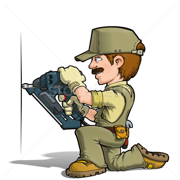 Handyman - Nailing Khaki Stock photo © nazlisart