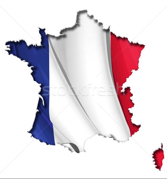 French Map-Flag Stock photo © nazlisart