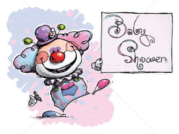 Clown Holding a Baby Shower Card Stock photo © nazlisart