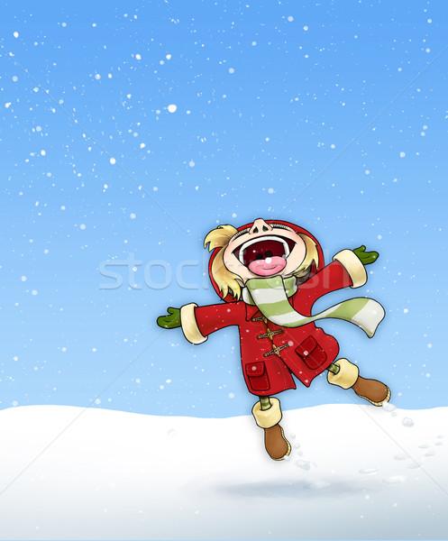 девушки снега красный пальто иллюстрация счастливым Сток-фото © nazlisart
