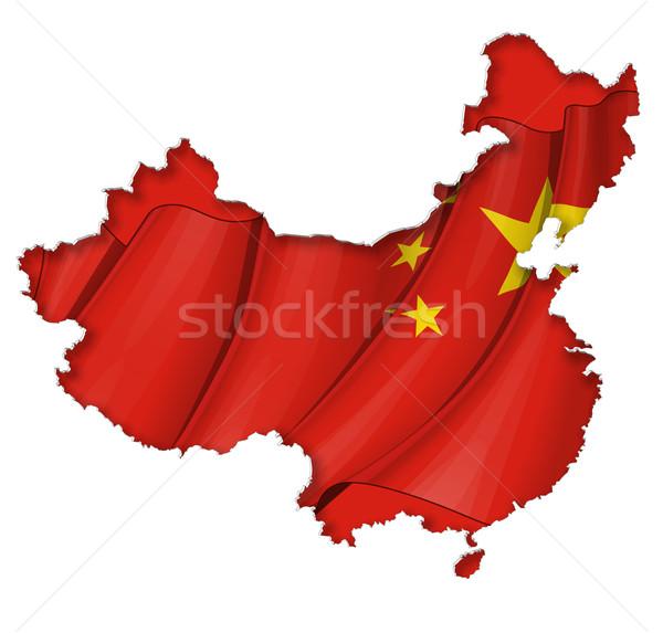 Chinese Map-Flag Stock photo © nazlisart