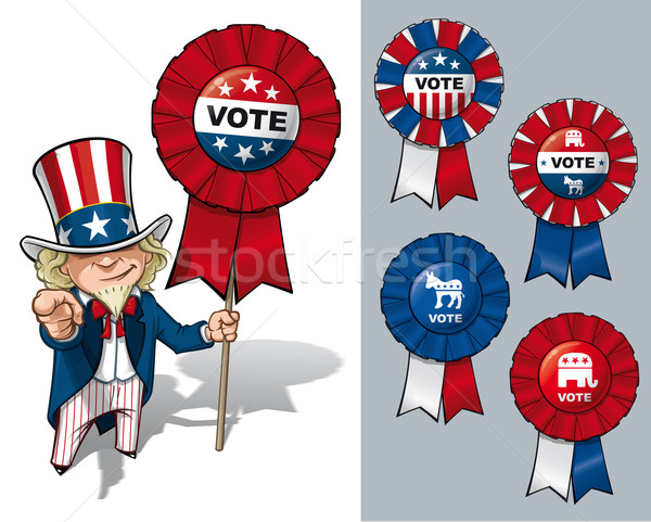 Nagybácsi szavazás vektor rajz illusztráció tart Stock fotó © nazlisart