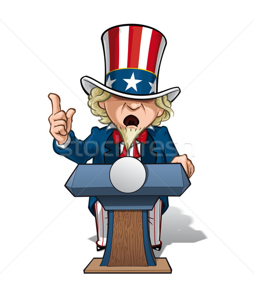 Photo stock: Oncle · présidentielle · podium · intense · vecteur · cartoon
