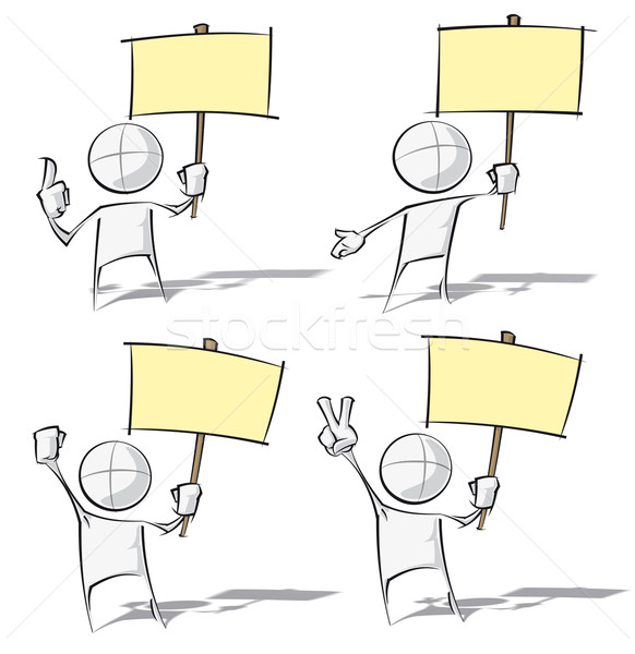 Simple People - Holding a Placard Stock photo © nazlisart
