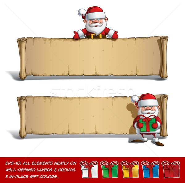 Boldog papirusz bemutat ajándékok szett vektor Stock fotó © nazlisart