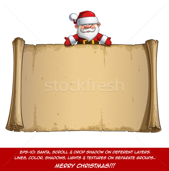 Happy Santa Scroll - Empty Label Open Hands Stock photo © nazlisart