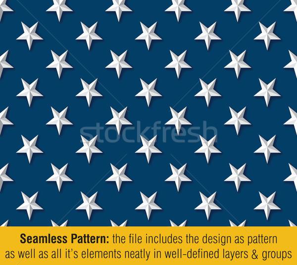 American Flag Embossed Stars Drop Shadow - Seamless Pattern Stock photo © nazlisart