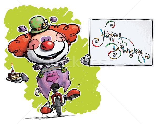 ピエロ 一輪車 お誕生日おめでとうございます カード 実例 ストックフォト © nazlisart