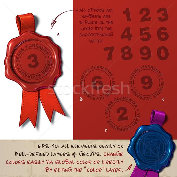 Wosk pieczęć gwarancja gwarantować miesiąc rok Zdjęcia stock © nazlisart