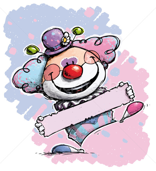 Clown Holding a Label - Baby Colors Stock photo © nazlisart