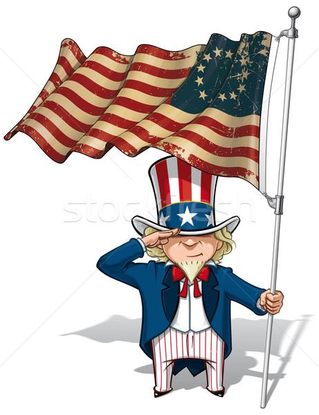 Uncle Sam Saluting the Betsy Ross Flag Stock photo © nazlisart