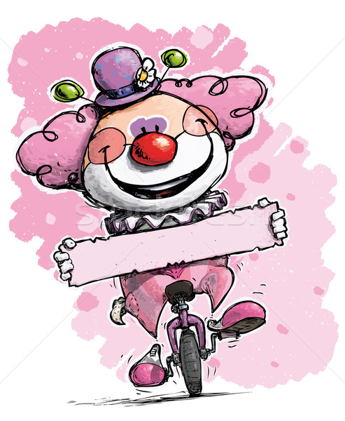 Clown on Unicycle Holding a Label - Girl Colors Stock photo © nazlisart