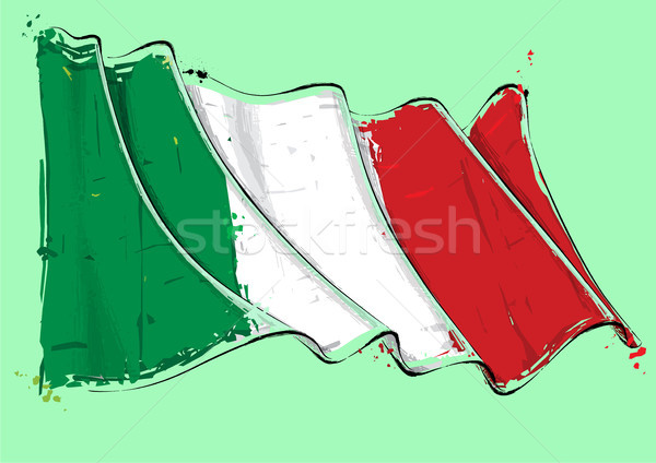 Italian Artistic Brush Stroke Waving Flag Stock photo © nazlisart