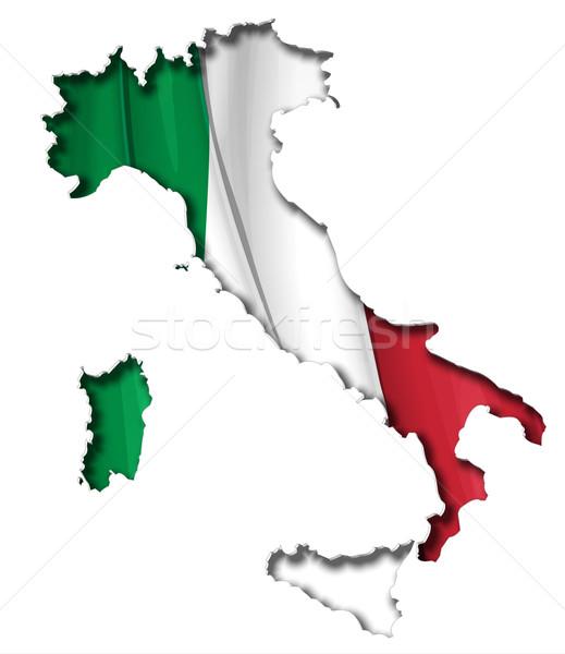 Italian Map-Flag Stock photo © nazlisart