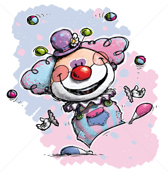 Clown Juggling - Baby Colors Stock photo © nazlisart