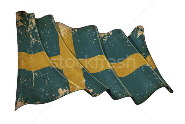 Stock photo: Swedish Aged Scratched Flag