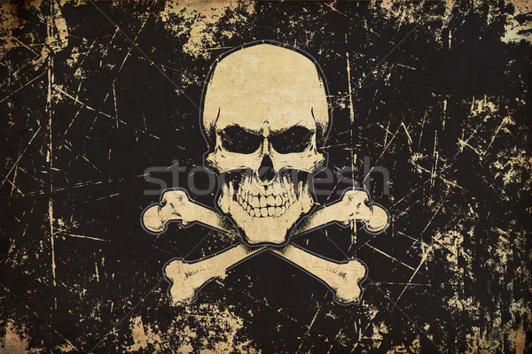 Pirates Skull and Bones Aged Flat Flag Stock photo © nazlisart