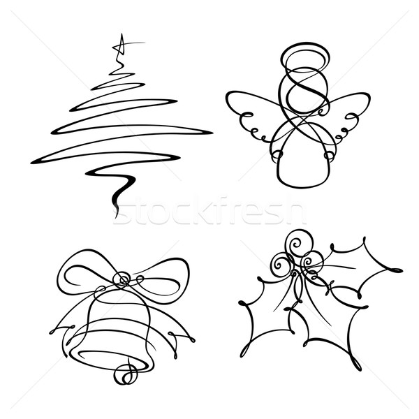 Four Christmas Single Line Icons Stock photo © nazlisart